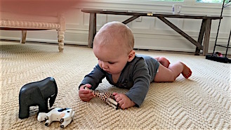 Small child playing with handcrafted, wooden animals
